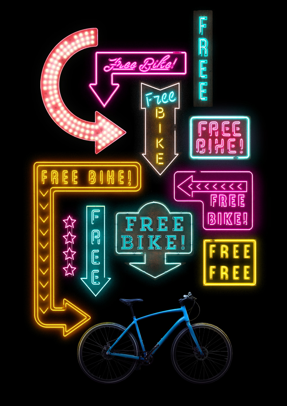 a poster featuring a bike being pointed at by many different neon lights reading 'free bike!'