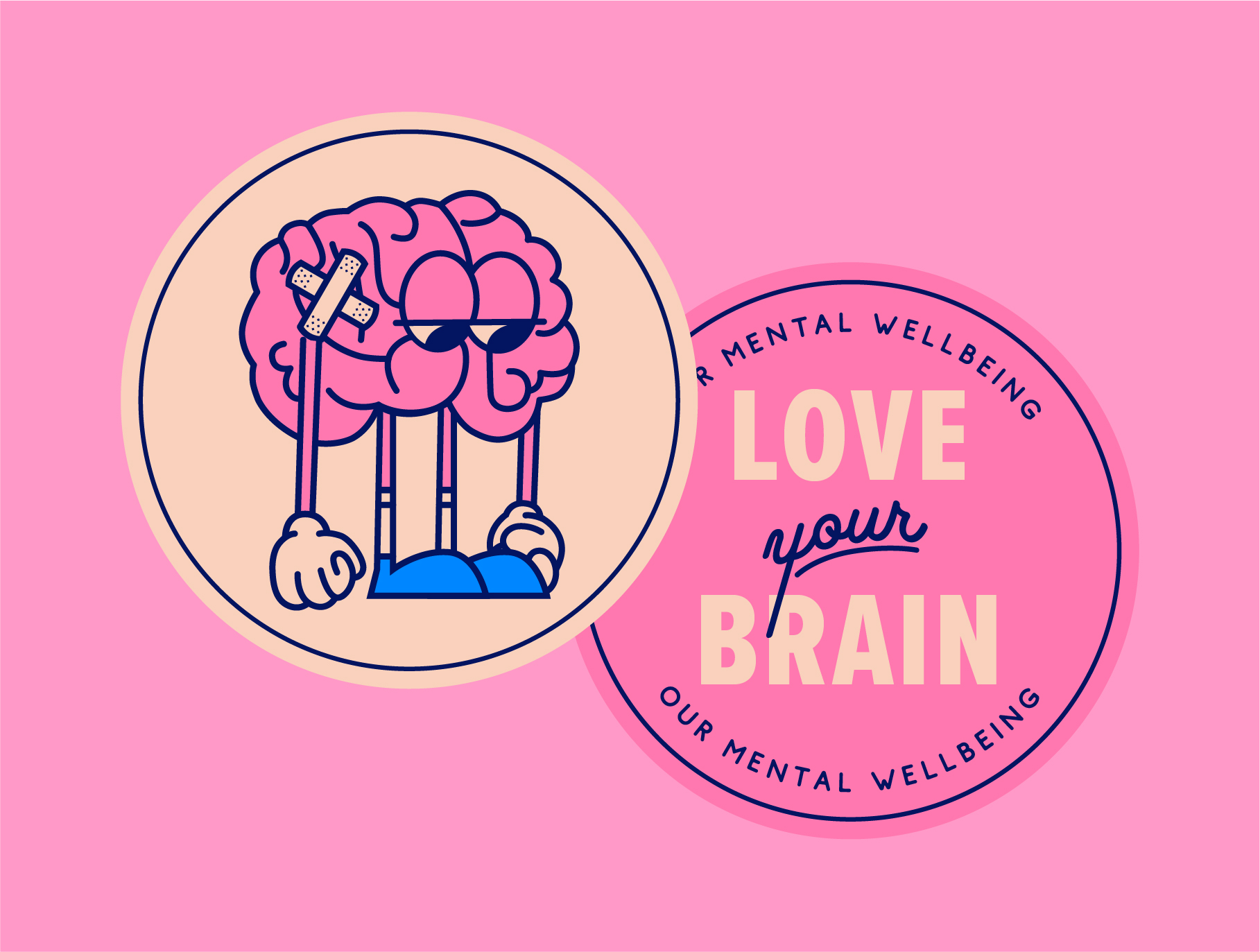 two stickers, one of a sad brain and the other reading 'love your brain'