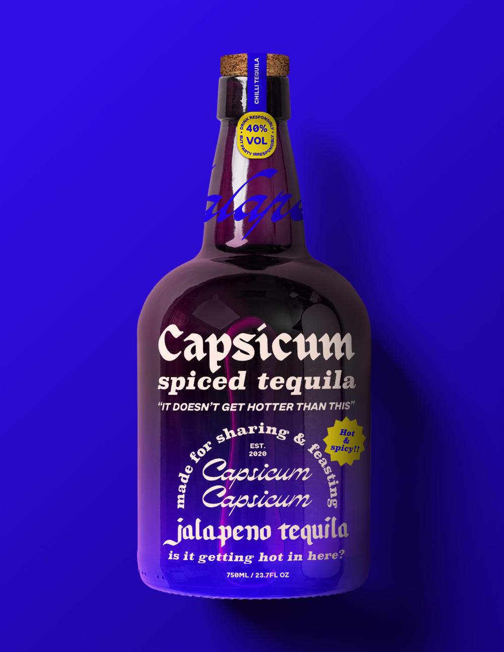 a blue tequila bottle which reads 'capsicium spiced tequila'