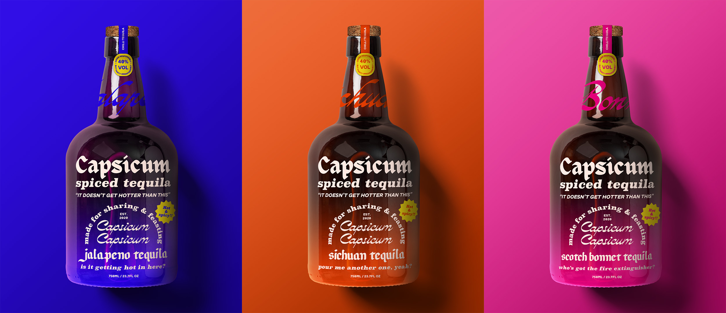 three tequila bottles of different flavours: a blue jalapeno flavour, an orange sichuan flavour and a pink scotch bonnet flavour