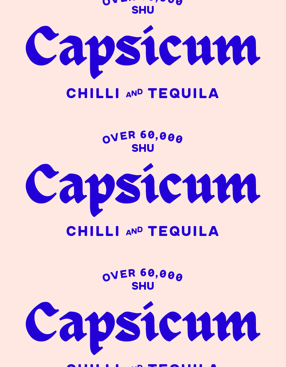 the capsicum logo which reads 'over 60,000 shu, capsicum, chilli and tequila'