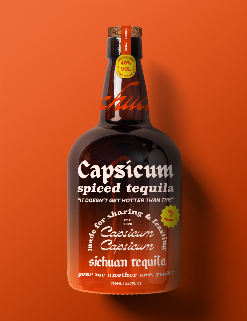 an orange tequila bottle which reads 'capsicium spiced tequila'