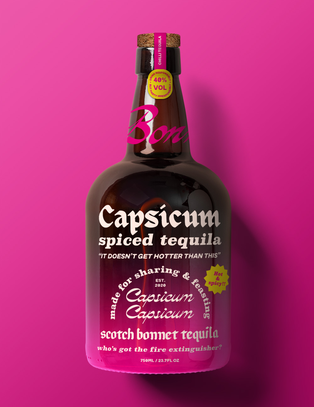 a pink tequila bottle which reads 'capsicium spiced tequila'