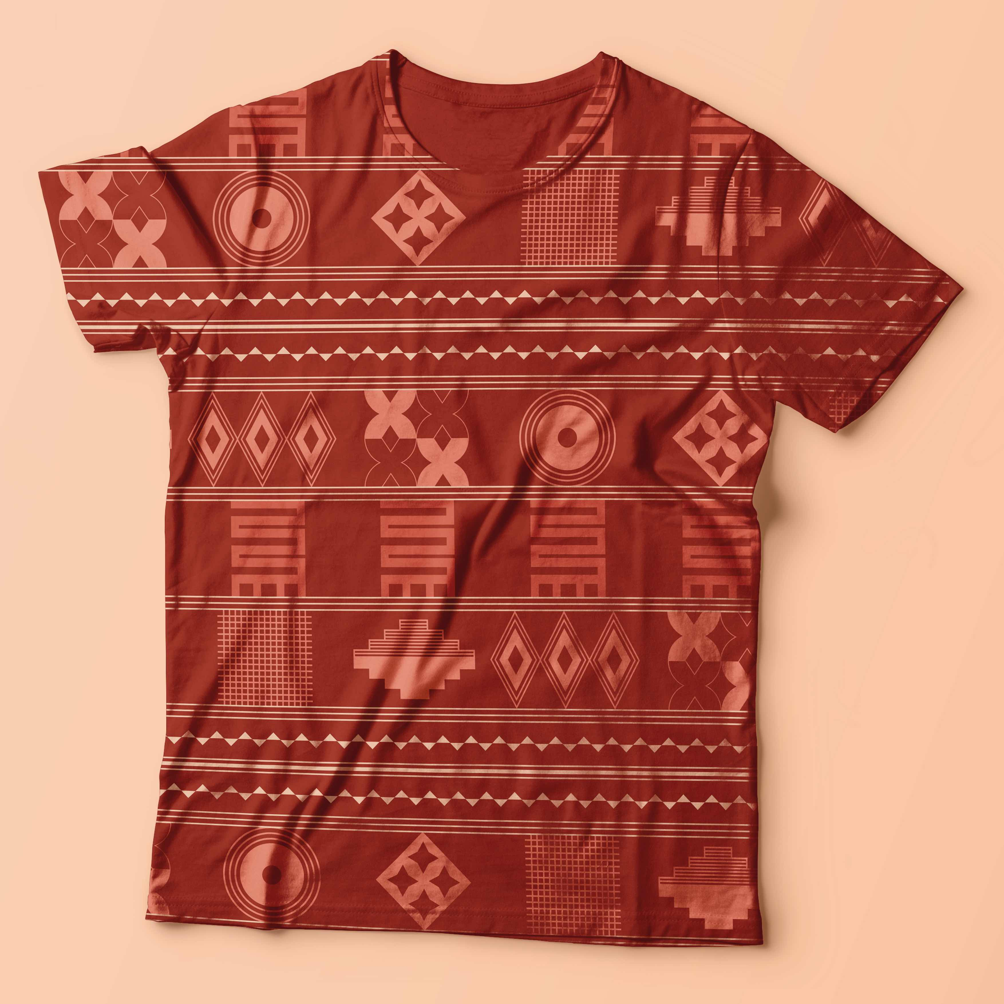 a patterned t-shirt