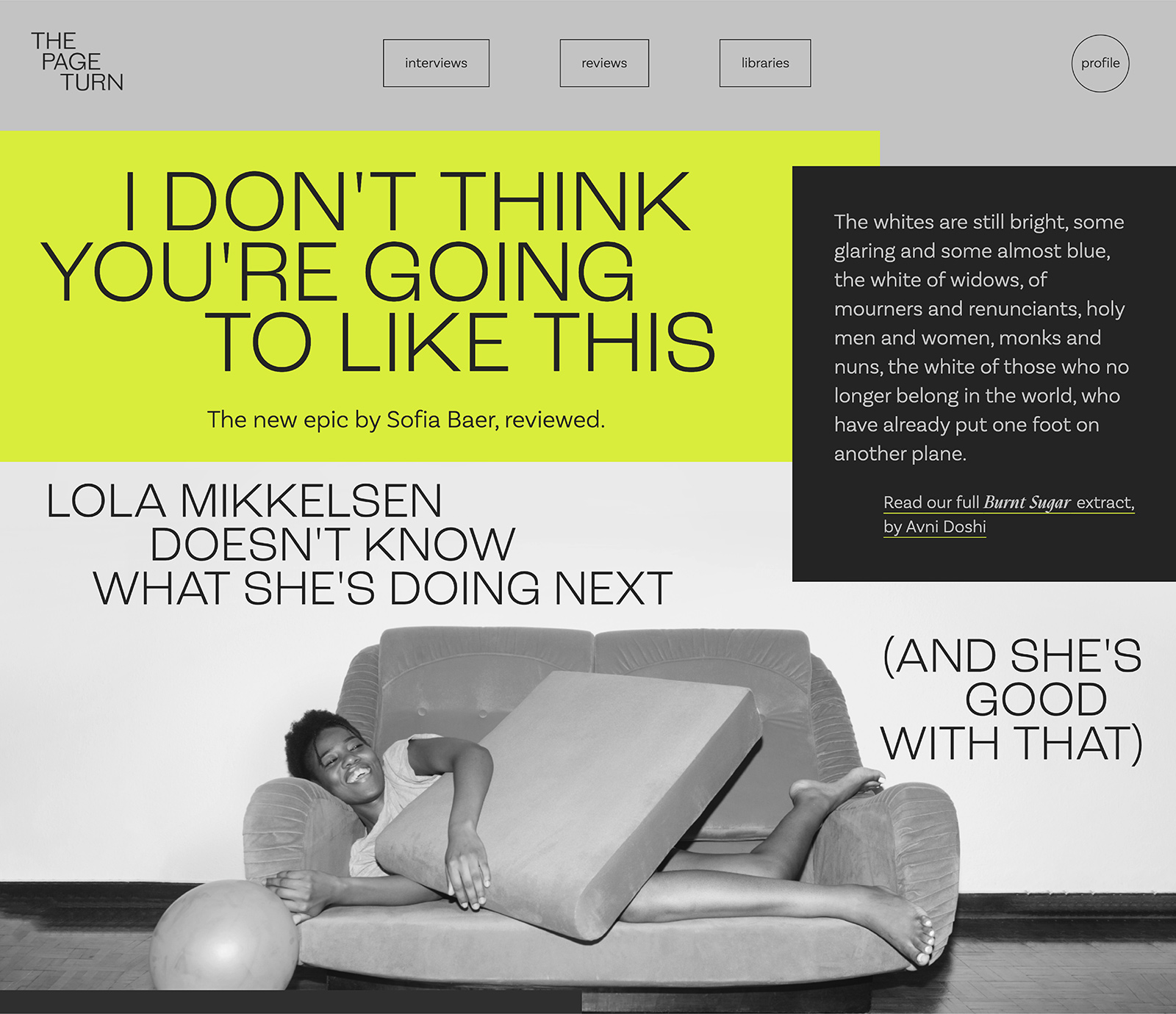 the page turn homepage, with a photo of a woman lying on a sofa and the headline 'i don't think you're going to like this'