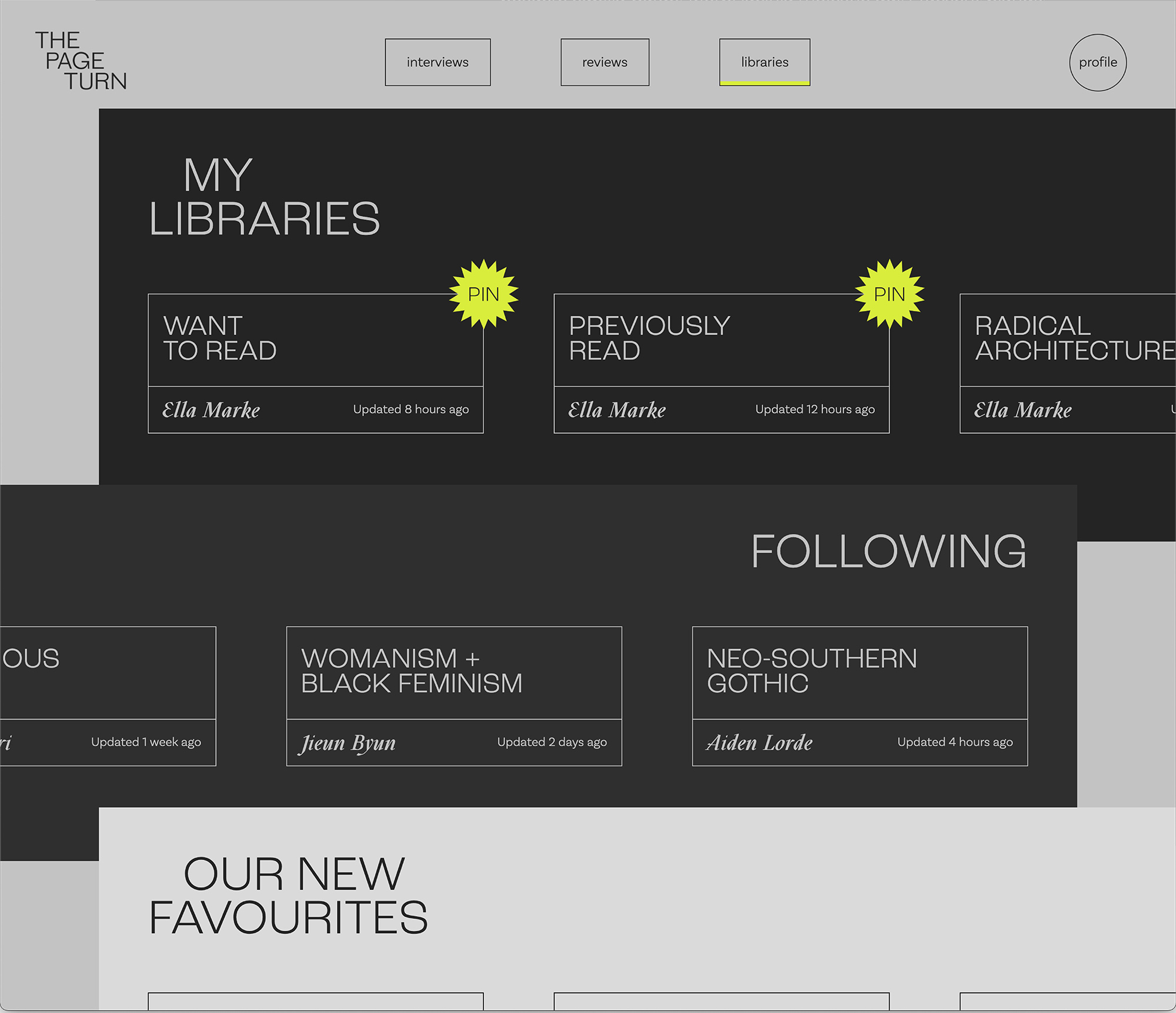 the library page of the website, with lists of libraries to follow